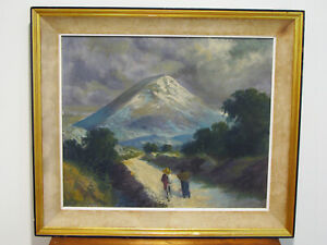 Antique-MEXICAN-IMPRESSIONIST-OIL-PAINTING-MOUNTAIN-WITH-WALKING-COUPLE-SIGNED
