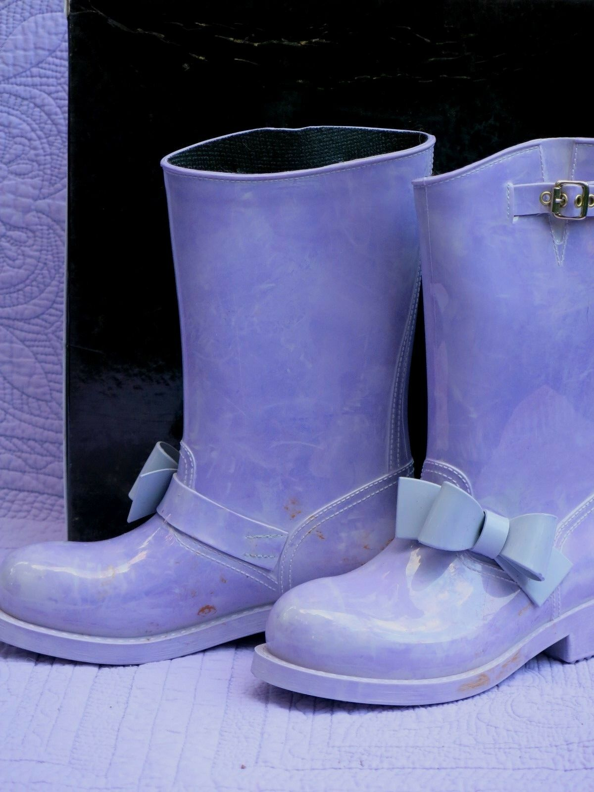 Red Valentino Rain Bow Boots purplec Women's 37 Never Worn Defective coloration