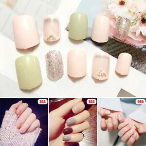 24pcs short fake nails art tips acrylic nail false french