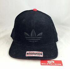 New adidas Originals Black Red TREFOIL Re-Cord Snapback Baseball Hat Corduroy