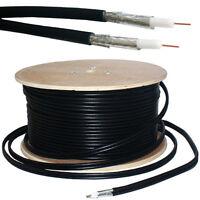 100M RG6 TWIN COAXIAL SHOTGUN CABLE - AERIAL SATELLITE DISH LNB- SKY+/HD FREESAT