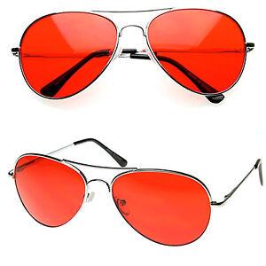 016647b29b1 MENS Retro Classic Metal Aviator Red Lens Tint Aviator Sunglasses ...