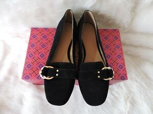 6bb44acb952 NIB  258 TORY BURCH MARSDEN SMOKING SLIPPER SUEDE GOLD LOGO BLACK ...