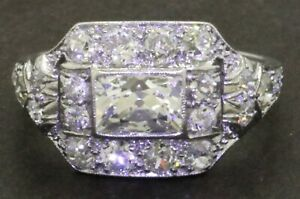Art-Deco-Platinum-2-82CTW-VS-diamond-cocktail-ring-w-1-20CT-Cushion-ctr