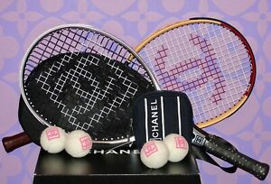 CHANEL-Collector-2-Tennis-Rackets-Mesh-COCO-Carry-Case-PLUS-4-Pink-Balls-NWT-Set