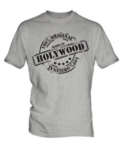MADE IN HOLYWOOD MENS T-SHIRT GIFT CHRISTMAS BIRTHDAY 18TH 30TH 40TH 50TH 60TH