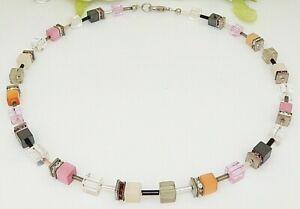 Halskette Würfelkette Cube Würfel schwarz weiß Kristall Glas Strass  102b