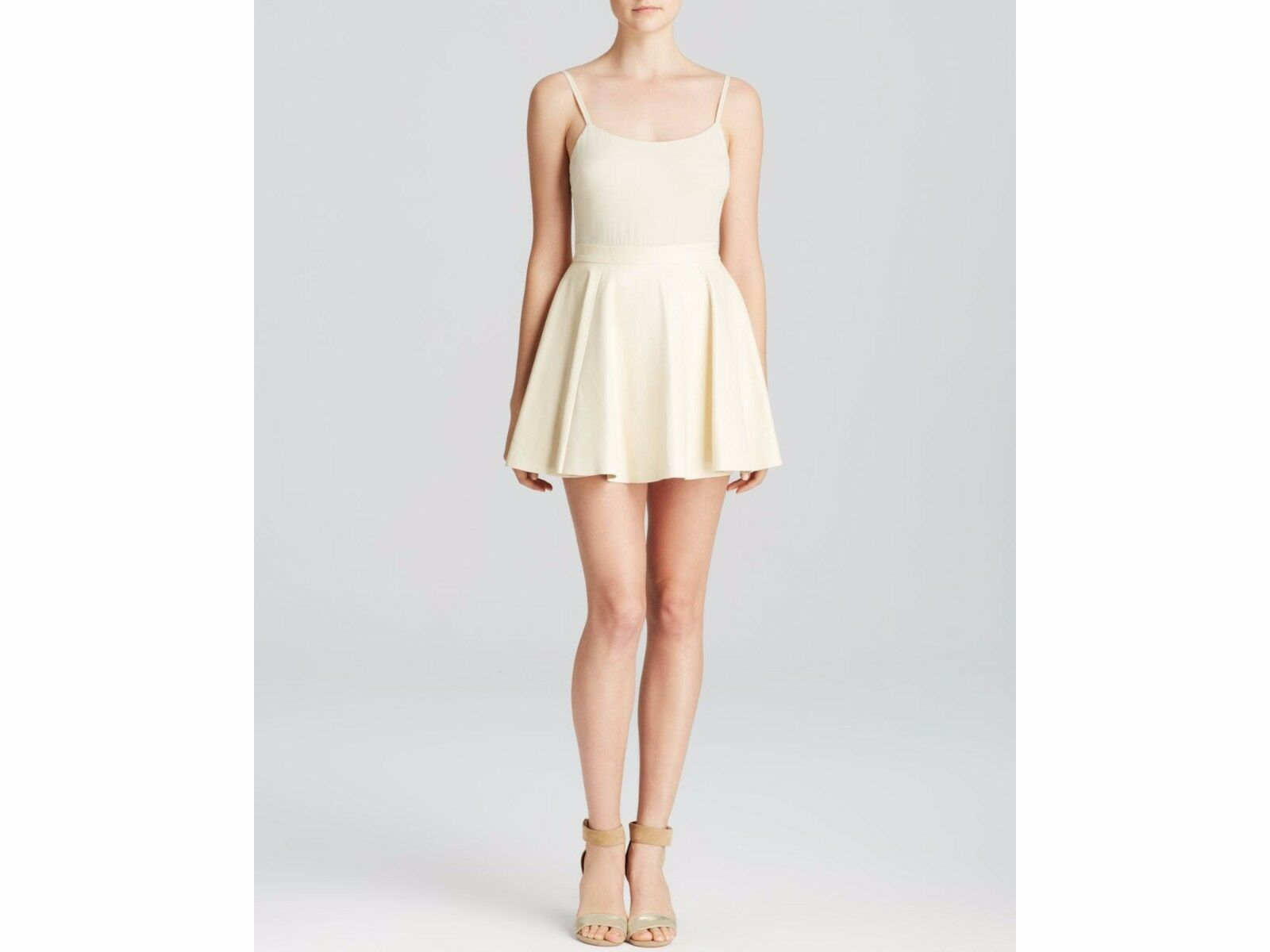 NWT Alice + Olivia Women's Natural Julie Leather Flare Dress SZ 4