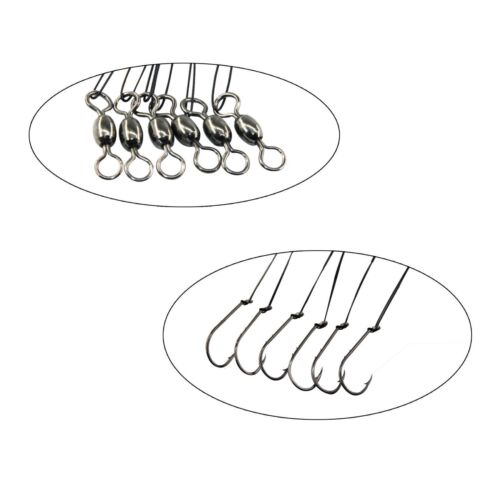 12pcs Fishing Wire Leader Hooks Stainless Steel Snells Lead Line with Swivels