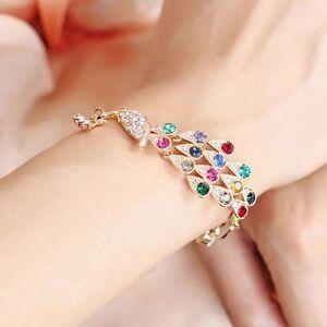 Damen-Kristall-Strass-Bunt-Pfau-Gold-Armband-Armreif-Armschmuck-Kettenarmband