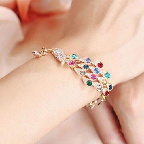 Damen Kristall Strass Bunt Pfau Gold Armband Armreif Armschmuck Kettenarmband