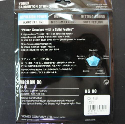 10 m ea 10 Packs Genuine Yonex Badminton String Sky Blue Made in Japan BG-80