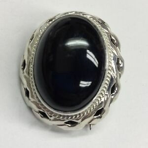 Retro, Vintage 1930s-1980s Vintage 925 Sterling Silver Real Black Onyx Gemstone Large Brooch High Quality And Inexpensive