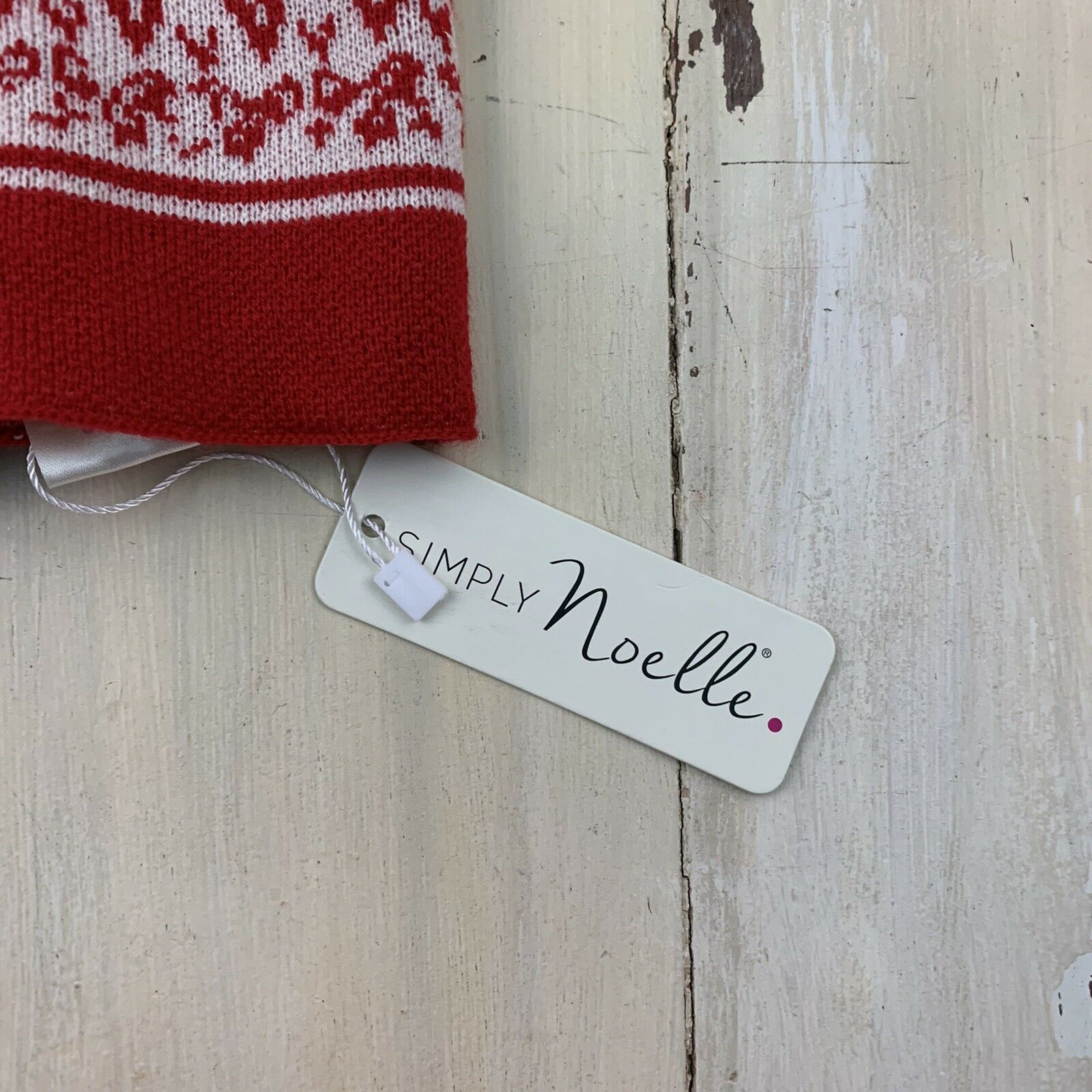 SIMPLY NOELLE: Red & White Winter Acrylic Scarf, Fingerless Gloves, Headband Set