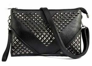 Black-Leather-Studded-CrossBody-Handbag-W-Zipper-Womens-Clutch-Dress-Bag