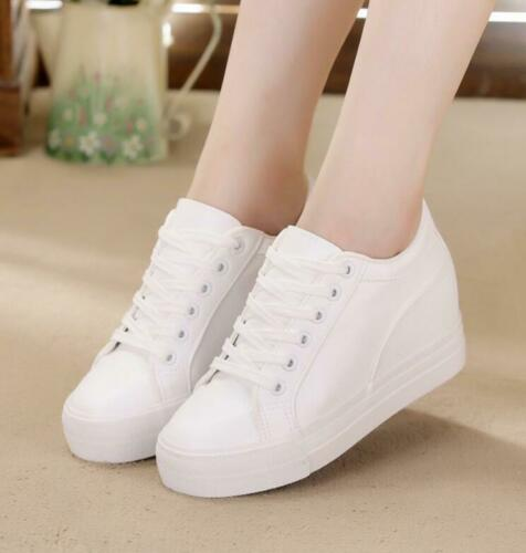 Womens PU Leather High Hidden Wedge Heel Platform Sneakers Casual Shoes Lace Up