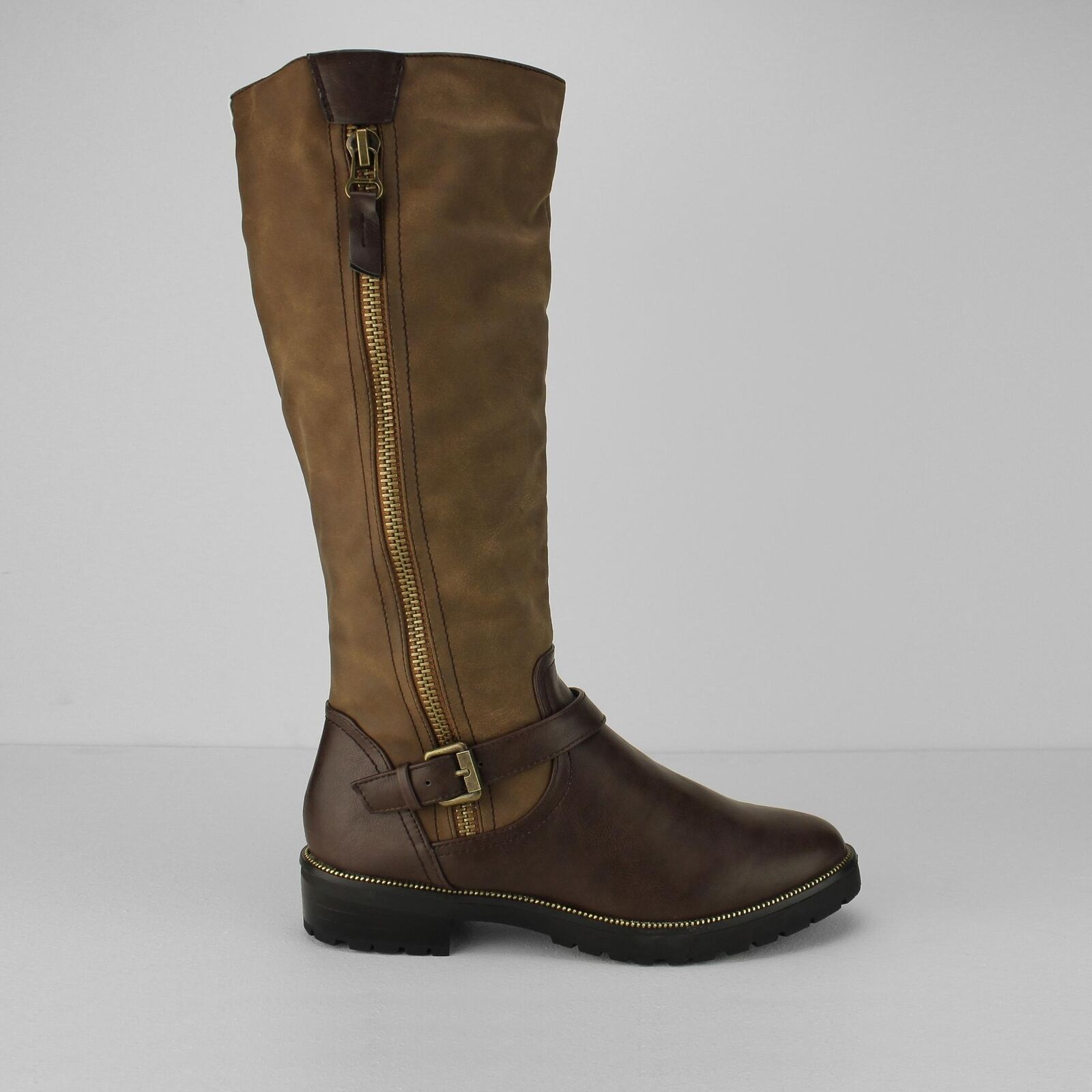 Divaz MANSON Ladies Womens Faux Leather Knee High Zip Up Riding Boots Brown