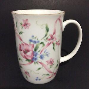 Otagiri-Tavistock-Japan-Coffee-Mug-Cup-Pink-White-Floral-Collectible-10-Oz