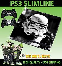 PLAYSTATION PS3 SLIM Stormtrooper Star Wars Imperio de la etiqueta engomada de la piel y el cojín de la piel