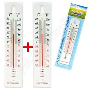 2 X Wall Thermometer Indoor Outdoor Hang Garden Greenhouse House ...