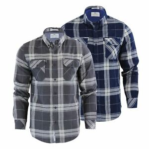 Crosshatch-Mitty-Homme-Chemise-a-carreaux-coton-a-col-a-manches-longues-Top-Casual