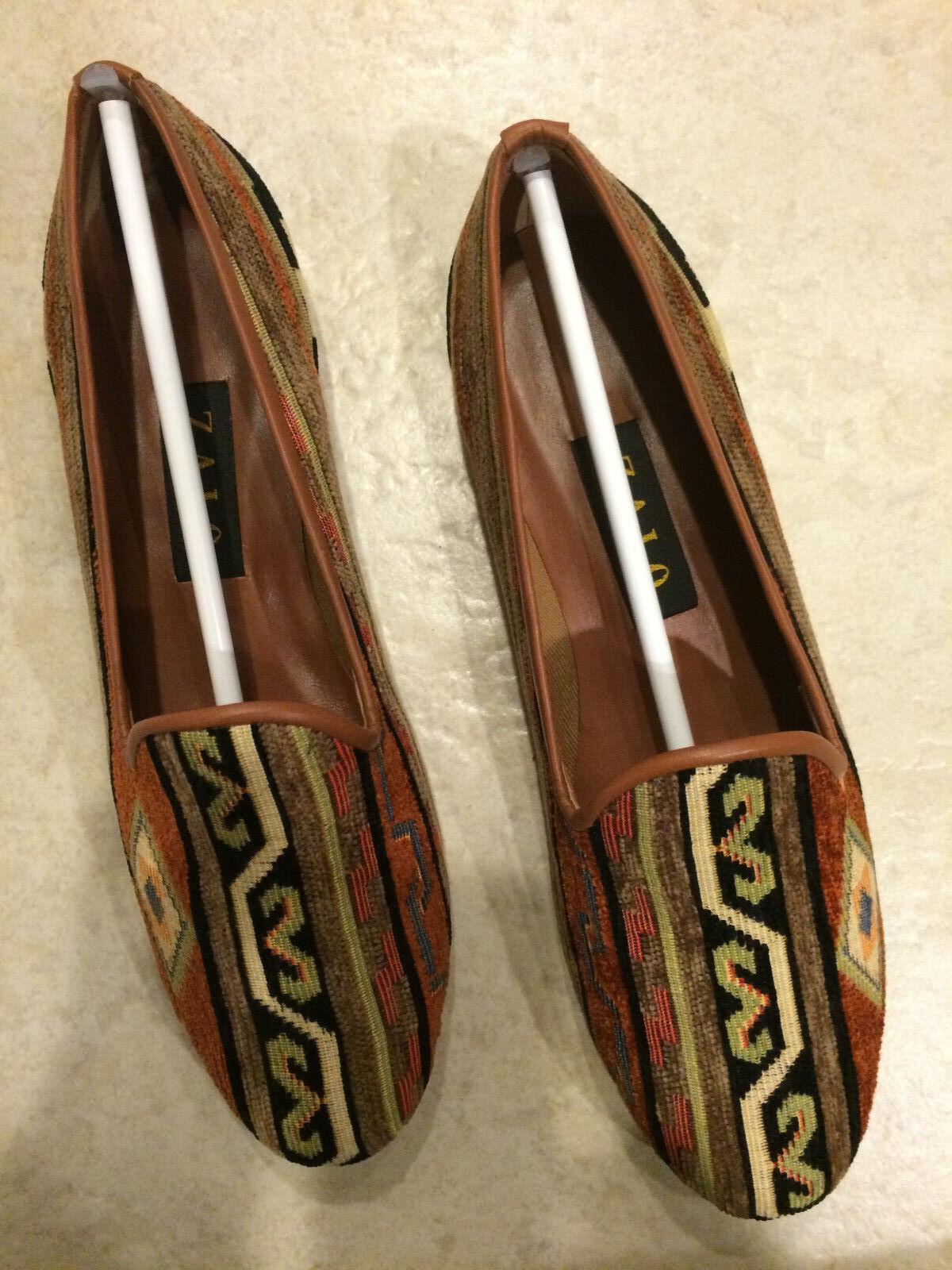 Zalo Gentry Cheyenne Aztec Multi-fabric Lip Brown Flat Stitched Tribes Slip on