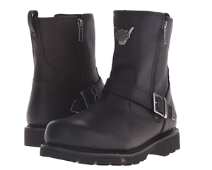 HARLEY-DAVIDSON-D93307-FLAGSTONE-Mn-039-s-M-Black-Premium-Leather-Motorcycle-Boots