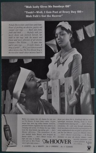 racist stereotype 1934 HOOVER Vacuum advertisement Black Maids talking