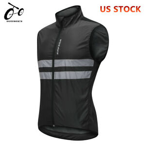 Mens-Reflective-Cycling-Vest-High-Visibility-Bike-Black-Gilet-Bicycle-Wind-Coat