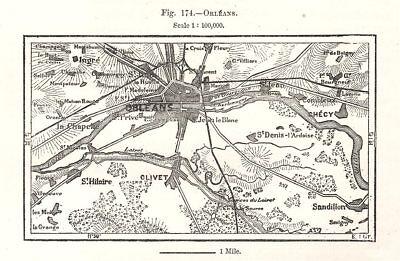 Sketch Map 1885 Old Antique Plan Chart Loiret Orléans Orleans & Environs