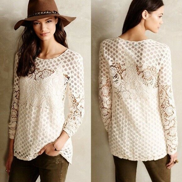 Anthropologie Sunday In Brooklyn Ivory Lace Interlude Sheer Shirt Medium LS