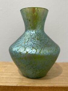 Vtg Antique Loetz Green Art Glass Vase w/ Blue Green Iridescent Oil Spot Design