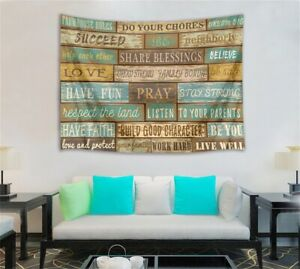 Rustic Wood Plank Tapestry Wall Hanging