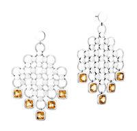 John Hardy Batu Dot Sterling Silver Cognac Quartz Chandelier Earrings $995