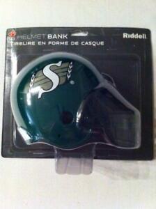 Saskatchewan Roughriders Helmet Style Coin Bank (New) Calgary Alberta Preview