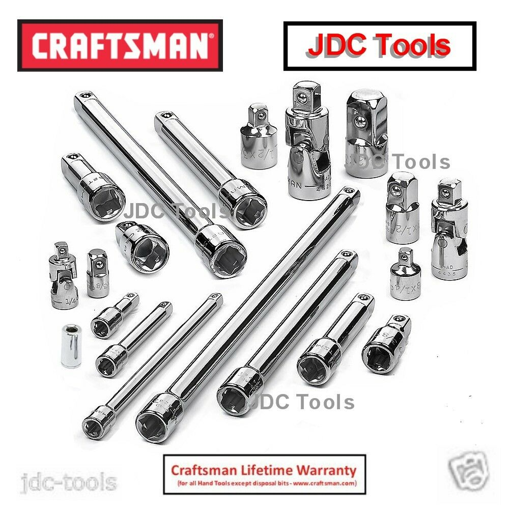 CRAFTSMAN 20 PC DRIVE TOOL ACCESSORY SET EXTENSIONS UNIVERSAL JOINTS ADAPTERS