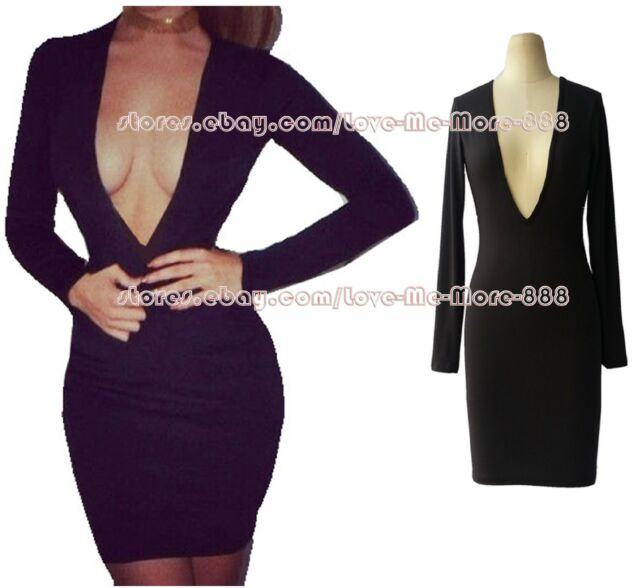 Womens Cocktail Club Party Plunging Deep V Backless tight fitted Bodycon Dress