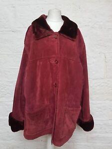 véritable Dennis fourrure taille Basso XL fausse dame en bordeaux cuir en 043 Manteau bordeaux AgHz1qg