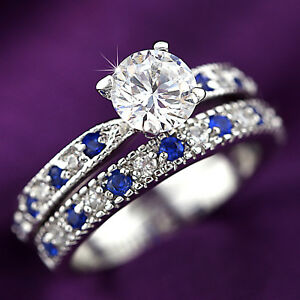 18K-WHITE-GOLD-GF-Channel-set-BLUE-SAPPHIRE-ENGAGEMENT-WEDDING-LADY-CRYSTAL-RING