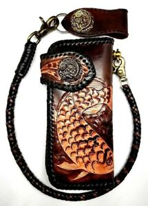Biker-Chain-Wallet-motorcycle-trucker-Koi-Fish-Tattoo-tooled-engraved-Leather