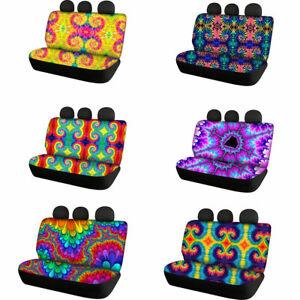 Fashion Tie Dye Car Rear Seat Covers Auto Accessory 2pcs Full Set Car Interior