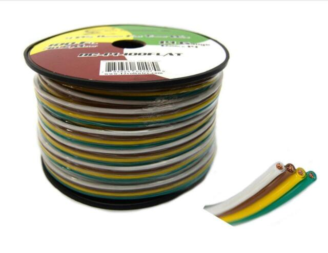 Flat Trailer Light Cable Wiring Harness 100 Feet 14 AWG 4 Wire Real ...