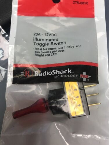 RS 20A 12VDC ILLUMINATED Toggle Switch New Bright Red LED 275-0010 New