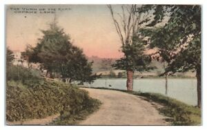 1921-Turn-of-the-Road-Copake-Lake-NY-Hand-Colored-Postcard