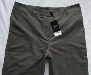 BNWT-NEXT-office-GREY-charcoal-Wide-leg-cotton-linen-smart-work-trousers-P