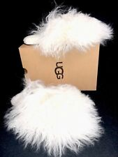 16afec93d65 UGG Womens Slippers Fluff Momma Mongolian Clog White Size 7