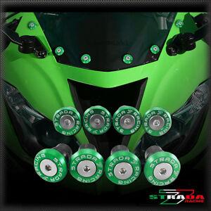 Strada-7-CNC-Parabrisas-Tornillos-M5-Juego-de-Husillos-Hyosung-GT250R-2006-Verde
