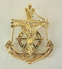 Large Gold Ep Mariner'S Cross Pendant - LIFETIME WARRANTY