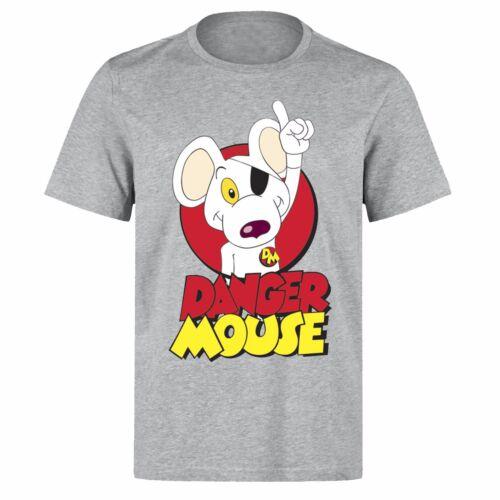 Danger Mouse Superhéroe Comic Dibujos Animados Retro Unisex PH59 Gris T-Shirt
