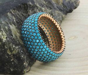 STERLING-925-SILVER-amp-MICRO-PAVE-SLEEPING-BEAUTY-TURQUOISE-ETERNITY-BAND-RING